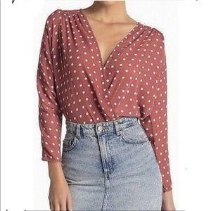 NWOT ASTR the Label Blush Polka Dot Bodysuit